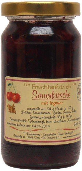 Fercher Fruchtaufstrich Sauerkirsche mit Ingwer, Glas: 235 g