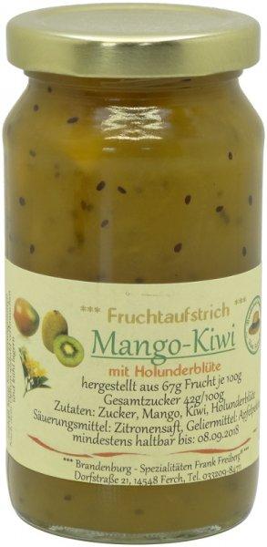 Fercher Fruchtaufstrich Mango-Kiwi mit Holunderblüte, Glas 235 g
