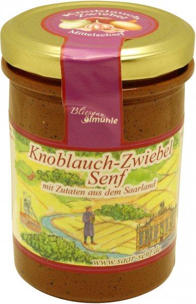 Saarländischer Knoblauch-Zwiebel-Senf, mittelscharf, Glas: 222 ml