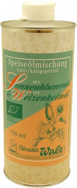 Badische Bio-Speiseöl-Mischung (Bio-Sonnenblumenöl und Bio-Weizenkeimöl), Dose: 750 ml