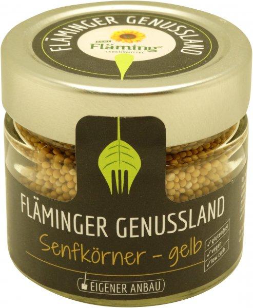 Fläminger Senfkörner gelb, Glas: 130 g