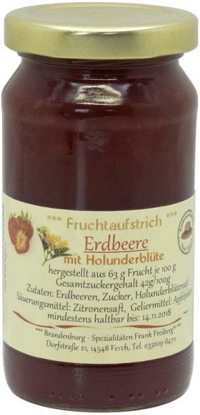 Fercher Fruchtaufstrich Erdbeere mit Holunderblüte, Glas 235 g
