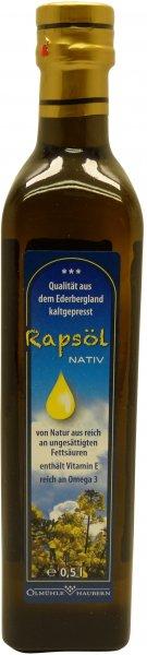Waldecker Rapsöl Nativ, Flasche: 500 ml