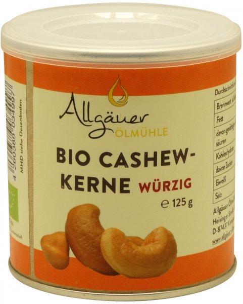 Allgäuer Bio Cashewkerne mit Curry, Dose: 125 g