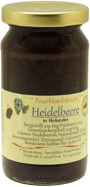 Fercher Fruchtaufstrich Heidelbeere in Holunder, Glas 235 g
