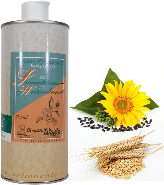 Badische Bio-Speiseöl-Mischung (Bio-Sonnenblumenöl und Bio-Weizenkeimöl), 750 ml